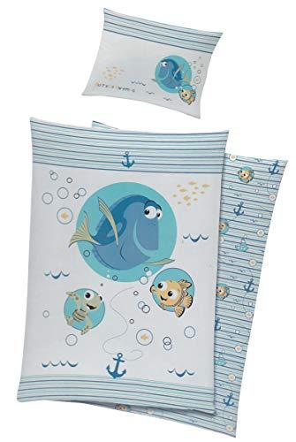 Baby Kinder Bettwäsche Disney Nemo & Dorie Bezug 100x135cm (Blau)