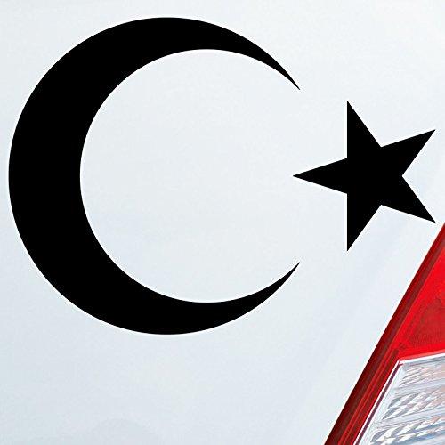 Auto Aufkleber in deiner Wunschfarbe Islam Türkei Turkey türkiye Flag Moon Halbmond 10x14 cm Autoaufkleber Sticker