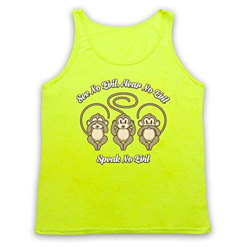 See No Evil Hear No Evil Speak No Evil Cute Monkeys Tank-Top Weste Neon Gelb