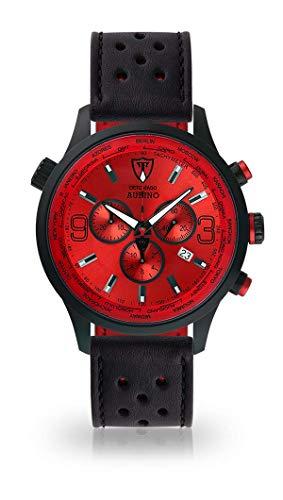 DETOMASO AURINO Herren-Armbanduhr Chronograph Analog Quarz Schwarzes Edelstahl-Gehäuse Rotes Zifferblatt (Leder - Schwarz (Racing Style))