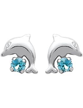 Ohrringe Sterling Silber 925/000rhodiniert und-Kristall Farbe–Delfin