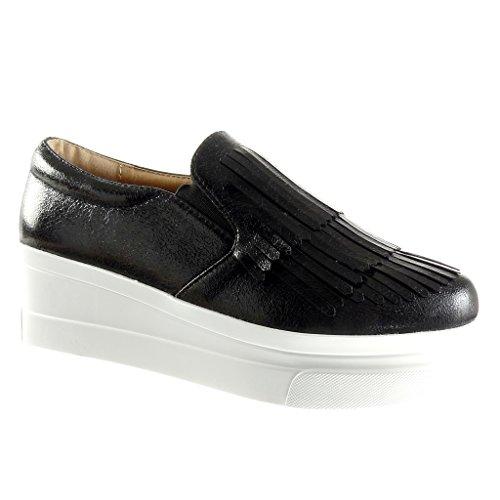 Angkorly - Chaussure Mode Mocassin slip-on plateforme femme frange verni Talon compensé plateforme 5.5 CM - Noir