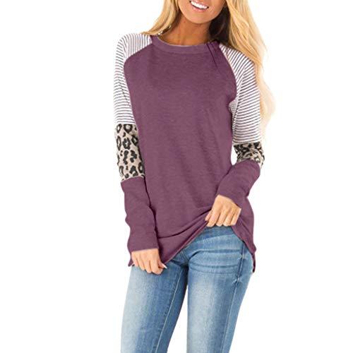 AIFGR Langarmshirt Damen T-Shirt Bluse Elegant Rundhals Casual Oberteile Hemd Farbabstimmung Pullover Shirt Tees Longshirt(Lila,L) -
