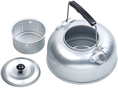 Semptec Urban Survival Technology Camping Wasserkessel: Camping-Kessel aus Aluminium mit Tee-Sieb und isoliertem Griff, 0,75 l (Campingkessel)