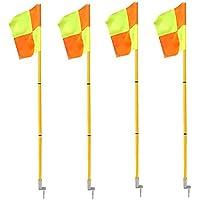 firelong banderines de esquina fútbol profesional portátil ligero deporte campo banderas con primavera Base–Juego de 4