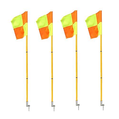 firelong Professional Soccer Fußball Eckfahnen tragbar leicht Sport Field Flaggen mit Spring Boden–Set of 4