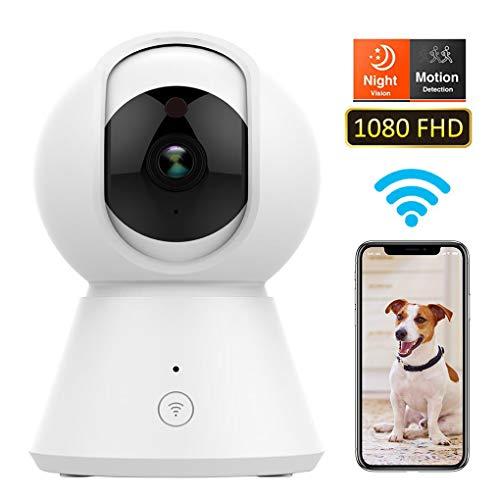WLAN IP Kamera,CFZC HD WiFi Überwachungskamera,mit 355°/100°Schwenkbar,Home und Baby Monitor mit Bewegungserkennung, Zwei-Wege-Audio, Nachtsicht, unterstützt Fernalarm und Mobile App Kontrolle