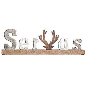 Gilde Schriftzug SERVUS Holz Alu ca 43 cm Natur Produkt Hirsch Deko Alpen Rustikal