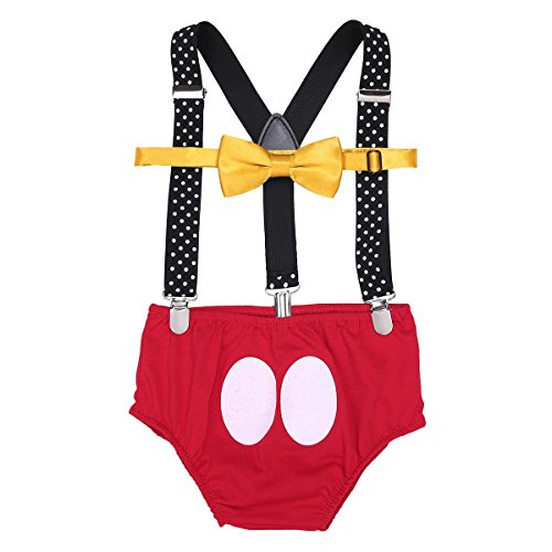 Agoky Baby 1. Geburtstag Outfit Neugeborenen Unterhose + Fliege + Y-Form Hosenträger 3pcs Bekleidungssets Fotoshooting Kostüm für Unisex Jungen Mädchen 3-18 Monate Rot 9-12 Monate