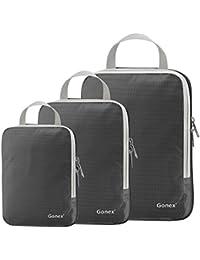 Gonex 3 Packs Organizador Maleta Bolsas Portátiles para Ropa Bolsas Extensibles e Impermeables Organizador de Almacenaje del Tres-Tamaño y a Prueba de Polvo