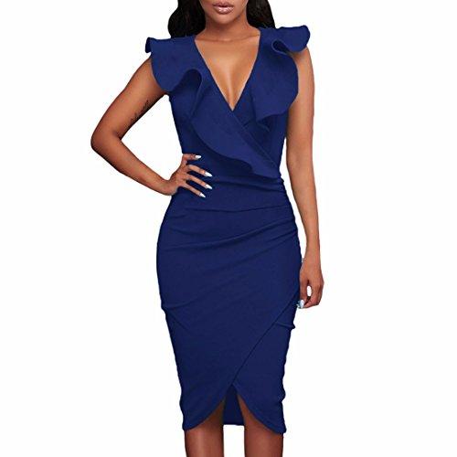 QIYUN.Z Vestito da cocktail sleeveless bodycon del v-collo delle donne Blu