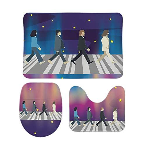 NC83 3er-Pack rutschfeste Fußmatte Abbey-Road-Oil Drucke Quadratisch Konturenteppich/Toilettensitzabdeckung 2 Größen Weich Bad Teppich rutschfest - Überqueren for Bath Decorate White 50x80cm