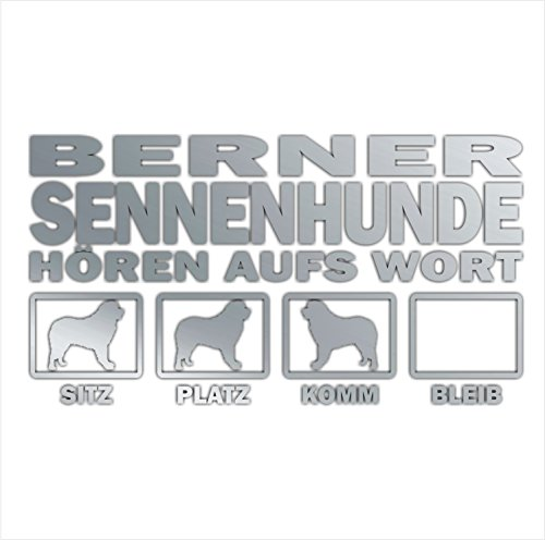 Siviwonder Auto Aufkleber BERNER SENNENHUND Hunde Hören aufs Wort Hundeaufkleber 30cm silber metallic -