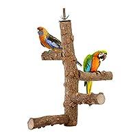 TONGXU Support d'activité en Bois de lor Parrot Stand Jouet de Support de Cage pour Oiseau Journal cacatoès Jouet d'entraînement