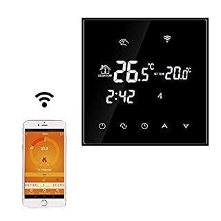 Beok TGT70WIFI-EP Programmable Underfloor Electric Heating Temperature Controller Glass Touch Screen Room Thermostat & Floor Sensor, Remote Online Control by Smartphone, AC230V 16A Black, Pack of 1
