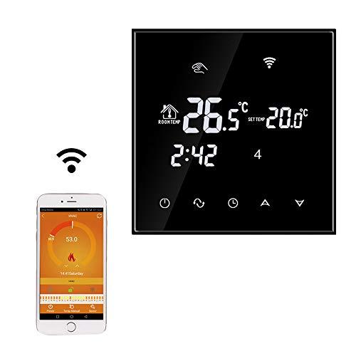 TGT70WIFI-EP| Thermostat Heizung WIFI Raumthermostat Smart Digital Programmierbar Thermostat Fußbodenheizung Elektrische Heizung Temperatur Controller (Schwarz)