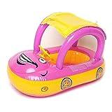 Goldyqin Karton Sonnenschirm Baby-Wasserschwimmer PVC Sitz Boot mit Canopy Schlauchboot Kleinkind-Schwimmen-Ring mit Lenkrad