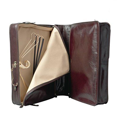 Maxwell Scott® Elegante porta trajes en cuero Italiano con garantía de 25 años color café (Rovello)