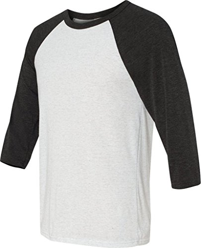 Delifhted Adult 3/4 Sleeve Blended Baseball Tee Wht Flk/Char Triblnd