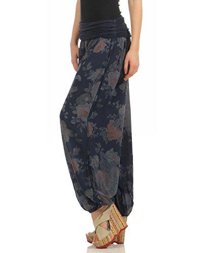 ZARMEXX Damen Pumphose Pluderhose Harem-Stil Sommerhose all over Print Freizeithose Aladinhose Hose One Size Blumen-navy