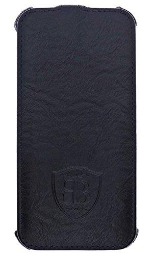burkley Étui en cuir pour le Apple iPhone 6/6S dans 4.7Flip Case Coque avec compartiment carte de crédit et fermeture magnétique en cuir de vache véritable Style vintage schwarz (Heated)