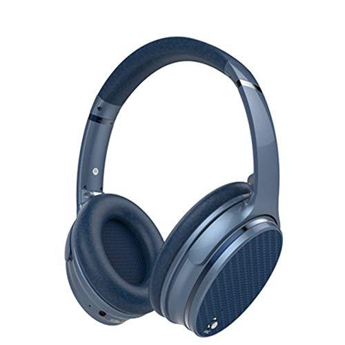 PXYUAN Bluetooth-Kopfhörer, Faltbarer Stereo-Wireless-Over-Ear-Kopfhörer, Mikrofon, geräuschisolierender Memory-Schaum, Einstellbarer und beeindruckender Stereo-Haptik-Bass-Blue Boss Stereo System