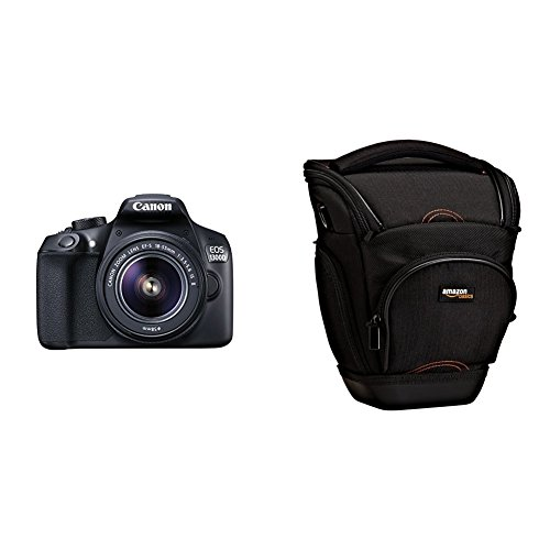 "Canon EOS 1300D - Cámara réflex de 18 Mp (pantalla de 3"", Full HD, 18-55 mm, f/1.5-5.6, NFC, WiFi), color negro - Kit con objetivo EF-S 18-55 mm f/3.5-5.6 IS II + AmazonBasics - Funda para cámara de fotos réflex, color negro"