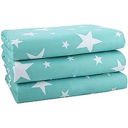 Bébé Couche imperméable Matelas à langer - 3 Pièces Matelas Pads Couche lavable Drap imperméable pour lit de bébé Protège matelas (Fantasy Star, M(50 x 70 cm))