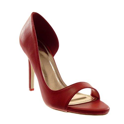 Angkorly scarpe moda scarpe decollete sandali stiletto slip-on aperto donna moderno tacco stiletto alto 10 cm - rosso 301-58 t 36