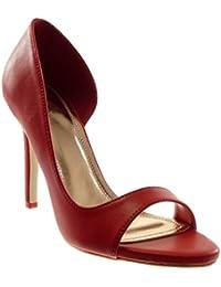 03a0f4be225 Angkorly Chaussure Mode Escarpin Sandale Stiletto Slip-on Ouverte Femme  Moderne Talon Haut Aiguille 10
