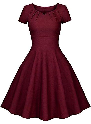 Miusol Vintage 50er Jahre Kleid Knielang Ballkleid Rockabilly Cocktail Abendkleid - 3