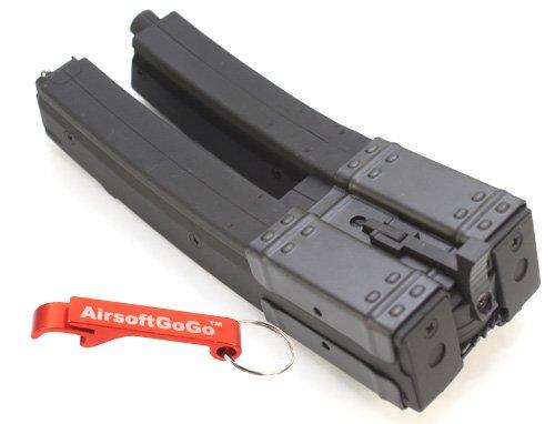 MP5 560 rds Dual Magazin für Softair Marui Standard AEG MP5K MK5 MP5A3 MP5A4 MP5A5 (Long) C37 - AirsoftGoGo Schlüsselanhänger Inklusive -