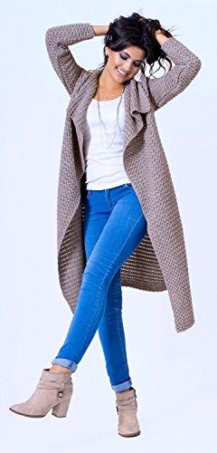 Glamour Empire - Femme Cardigan Gilet en Maille Cardi Droit Manches Longues 987 Moka