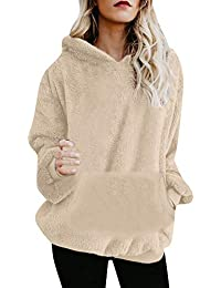NINGSANJIN Frauen Kapuzenpullover Sweatshirt Hoodie Mantel Winter Warme Wolle Reißverschluss Taschen Baumwolle Mantel Outwear