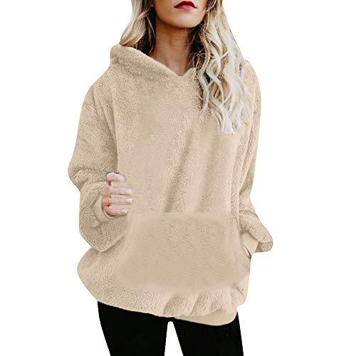 EUZeo_Hoodie Damen Herbst Winter Kapuzenpulli Solide Farbe Warm Wolle Lange Ärmel Taschen Mantel Outwear