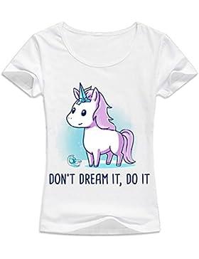 Desshok Donna Estate Unicorno Stampato T Shirt Girocollo Manica Corta Camicetta Tops Casual