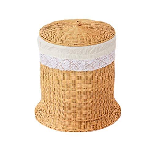 ZHAOSHUNLI Panier à linge Rotin en bambou de panier de rangement de panier de blanchisserie vêtx le stockage de jouet avec le couvercle (Couleur : Le jaune)