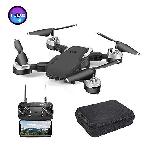 3T6B Drone con Cámara 1080P HD 5 megapíxeles, Avión WiFi FPV por Control Remoto, Cuadricóptero con Foto Gestual, Sensor de Gravedad, Modo sin Cabeza, Control Remoto de Voz (Negro)