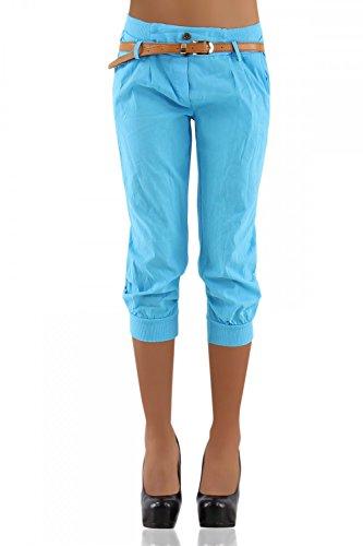 DANAEST Damen Chino Capri Hose inkl. Gürtel ( 276 ), Grösse:L / 40;Farbe:Hellblau (Capri-hosen-hosen)