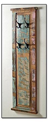 Holz-Garderobe in Handarbeit aus Alt-Holz hergestellt mit 4 Kleiderhaken 35x8x110 cm   Rivership   Wand-Garderobe lackiert mit starken Gebrauchsspuren im Shabby Chic-Look 35cm x 8cm x 110cm
