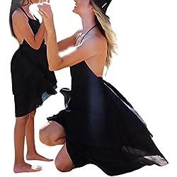 Vestido de niña mini vestido de madre e hija Vestido de playa vestido de halter Arnés colgante de cuello