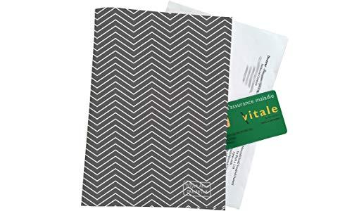 Grand porte ordonnance et carte vitale Motif Chevrons blancs fond gris anthracite Réf. 2084