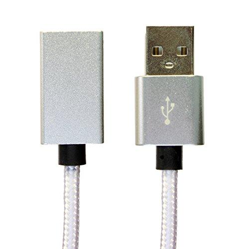 [i-rex] 0,5m Premium Nylon USB Kabel | Verlängerung | Verlängerungskabel | Datenkabel | A-Stecker auf A-Buchse | [weiß] (Stecker Kurze Solide)