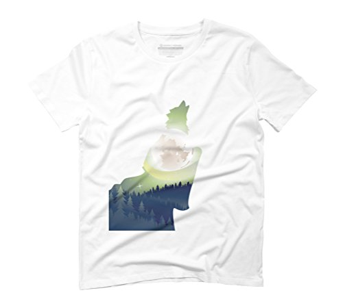 Howling Wolf and full moon Men's Graphic T-Shirt - Design By Humans White
