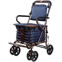 Carrito de compras de cuatro ruedas para personas mayores, un andador con asientos con ruedas