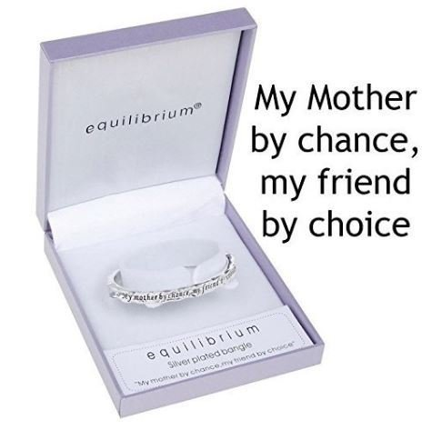 Equilibrium - bracciale rigido per mamma con incisione 'my mother by chance, my friend by choice', placcato argento
