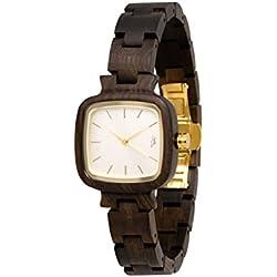 STADTHOLZ Armbanduhr Holzuhr Lausanne Safirglas aus Sandelholz Damenuhr Geschenk