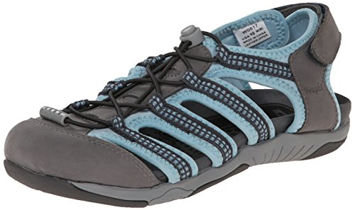Propet Hilde Rund Leder Fischer Sandale Light Grey/Light Blue