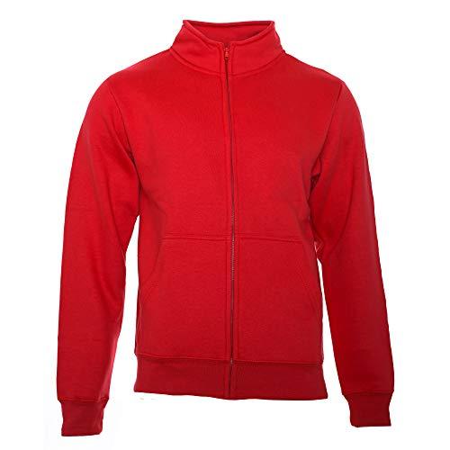 ROCK-IT Apparel® Sweaterjacke Herren ohne Kapuze Pullover Männer Zipper Jacke mit Stehkragen und Reißverschluss Fleece-Innenseite Farbe Rot 5X-Large