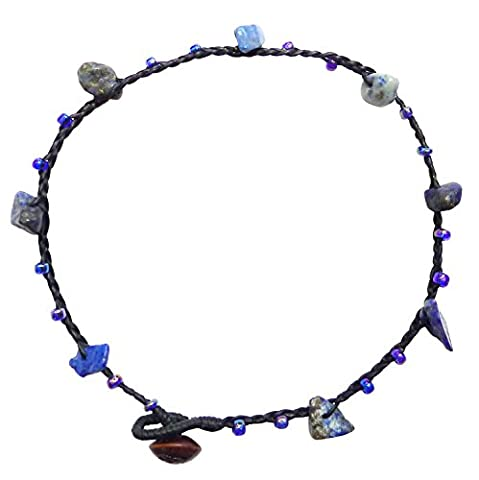 BDJ Handmade Blue Stone Glass Bead Cord Anklet Bracelet 10 Inches